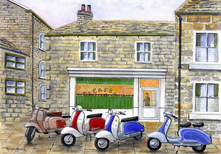 """006MM044 - The Italian Job visits Sids Cafe at Holmfirth - 16"""" x 12"""" Print Only £12.99 9.5"""" x 6.5"""" Mounted to 14"""" x 11"""" - £12.99"""