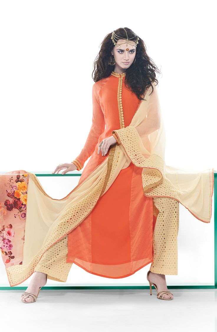 Designer Exclusive Orange and Beige Unstitched Georgette Embroidered Salwar Suit - SHA1109 To shop here; http://goo.gl/PPxndB