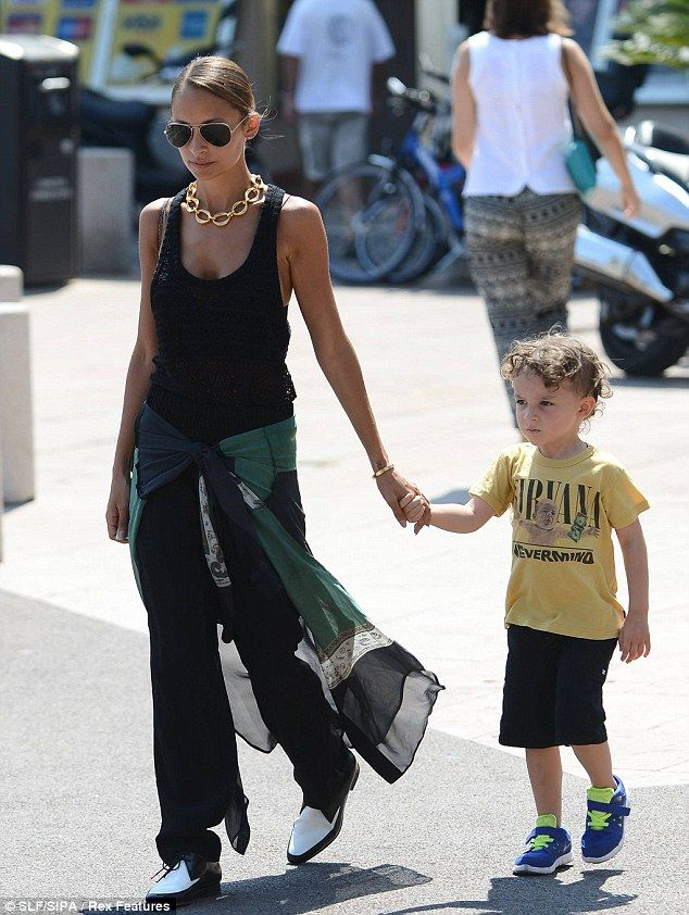 Nirvana fan: The adopted daughter of Lionel Richie held tight to Sparrow's hand while strolling through Saint-Tropez's streets