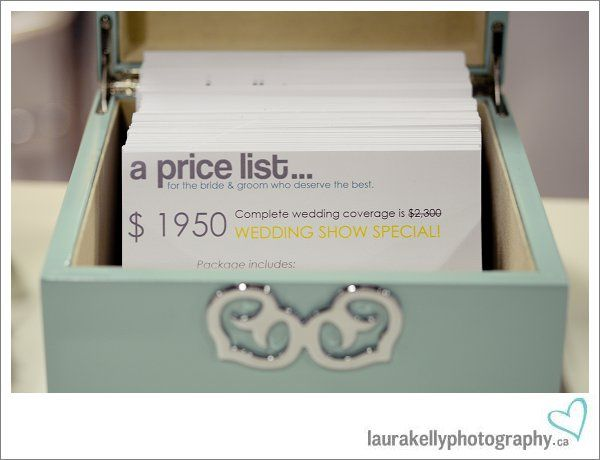 This is a cute way to display the pricing info in a little decorative wood box!