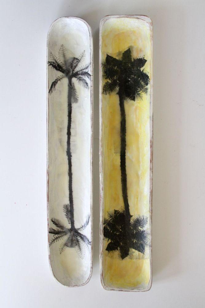 studioreset – portfolio http://studioreset.artmoi.me/. New Zealand artwork by Kim Kobialko.  Punga tree flora and fauna upcycled wooded trays
