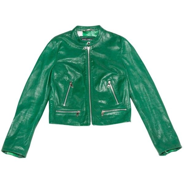 Pre-owned Dolce & Gabbana Leather Biker Jacket ($803) ❤ liked on Polyvore featuring outerwear, jackets, green, real leather jackets, biker jacket, green leather jacket, rider leather jacket and leather moto jacket