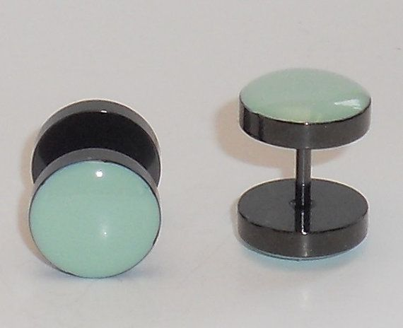 Hey, I found this really awesome Etsy listing at https://www.etsy.com/listing/152898325/mint-green-9mm-fake-plugs