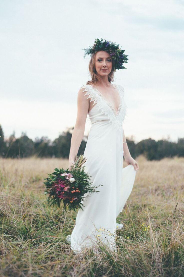 The Leilani //  Australian made this custom Made gown made on the Gold Coast is exclusive to Bohemian Brides. It features a chiffon overlay with a lace detail around the neck line and deep V detail on the back. This effortlessly simple dress is perfect for a destination wedding on the beach or floating through the fields.  Contact the team // info@bohemianbrides.com.au // Bohemian Brides // Gold Coast Bridal Store // Wedding Dress // Unique Bride //