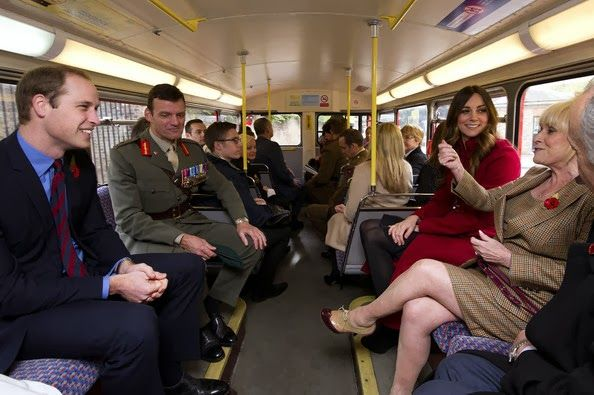 """On November 7, 2013, Their Royal Highnesses The Duke and Duchess of Cambridge """"…surprised hundreds of commuters as they travelled on a 1960s Routemaster bus to High Street Kensington station where they met military personnel and volunteers supporting London Poppy Day…"""" according to Kensington Palace"""