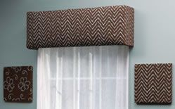Looking for an inexpensive and easy window treatment idea?  Well, a cornice out of styrofoam fits the bill. Another great treatment for any window is a cornice.  This is an upholstered stiff board that covers the top portion of the window often placed over a blind or draperies.  A cornice can stand alone as well...