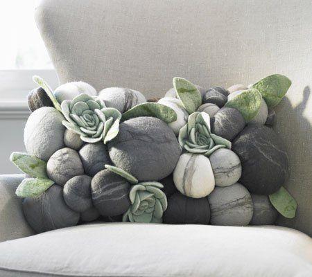 felted rock pillow