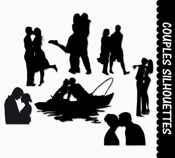 Couples In Love Clip Art Pairs Clipart Graphic Scrapbook Etsy Couples In Love Clip Art Black And White Photography