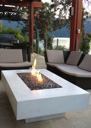Natural Fire Table with pebble inlay
