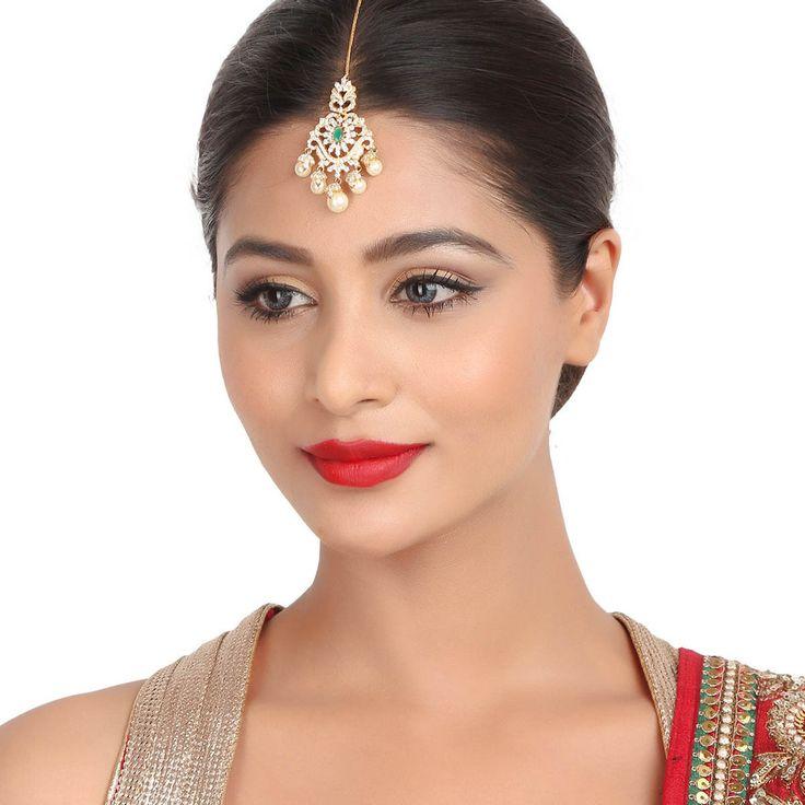 Zircon Tikka 55952G #Kushals #Jewellery #FashionJewellery #IndianJewellery  #WeddingAccessories #Maang Tikka #Zircon