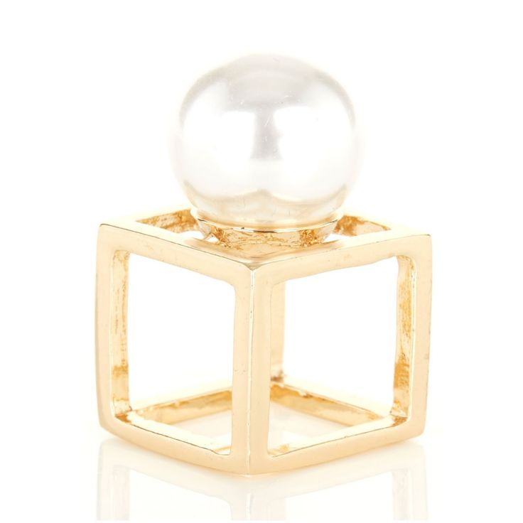 Square frame ring with pearl Gold