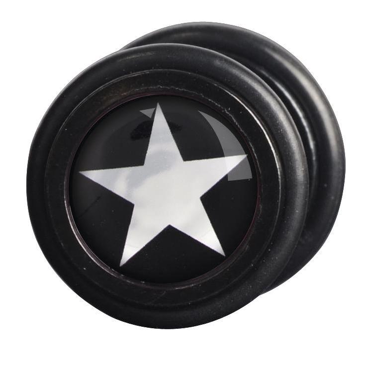 """Vi piacciono i #Plug ma non volete dilatare i lobi delle orecchie? I falsi plug """"Silver Cross"""" di #Wildcat sono quello che fa per voi. Set di falsi plug con croce color argento su sfondo nero sulla superficie. Ø: 11 mm. Spessore perno: 1,2 mm. Materiale: acciaio inossidabile."""