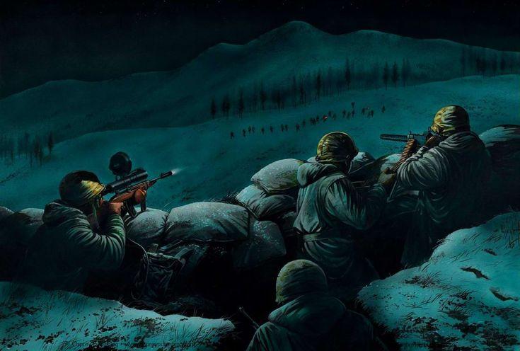M3 Carbine (снайперская модификация M1) - Американские морские пехотинцы отражают ночную атаку подразделения армии Северной Кореи, 1951 год