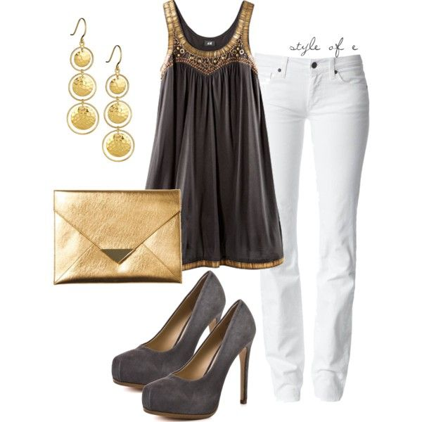 """Gold Accents"" by styleofe on Polyvore: Blouses, Snakes Skin, Dreams Closet, Casual Elegant, Fashion Style Outfits, Gold Accent, Black Gold, Polyvore, White Jeans"