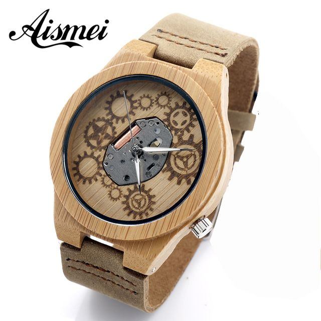 2016 Hot sell mens wooden Watch brand Men Wooden Quartz Watch gear design face Bangle Natural Wood Watches Relogio with box