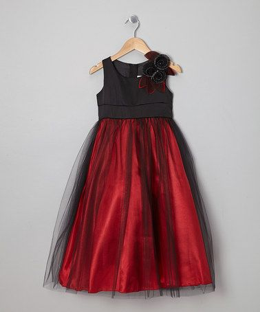 Take a look at this Red & Black Flower Dress - Toddler & Girls by Cinderella Couture on #zulily today!