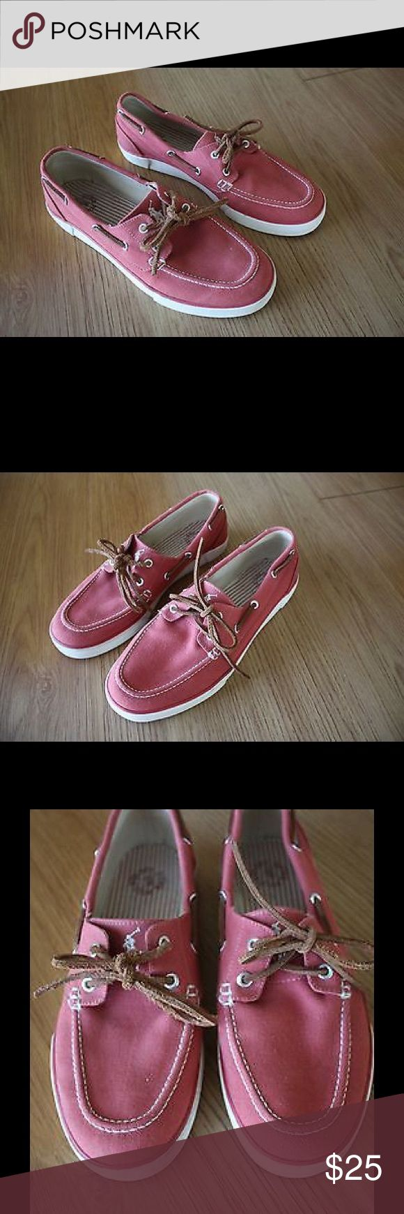 "Polo Ralph Lauren ""Sander"" Salmon Boat Shoes Polo by Ralph Lauren ""Sander"" Canvas Salmon Boat Shoes in Men's Size 10.5 D. These shoes are in great condition with some minor wear, see photos for details. Polo by Ralph Lauren Shoes Boat Shoes"