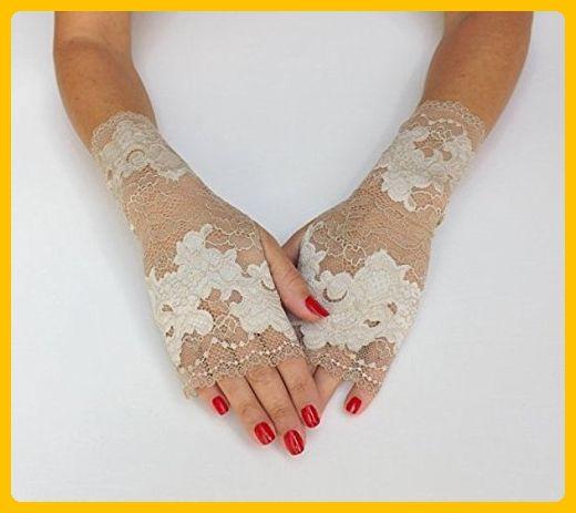 Lace gloves. Ivory floral gloves. Fingerless gloves. Bridal gloves. Nude gloves. Lace mittens. Short gloves. - Bridal gloves (*Amazon Partner-Link)