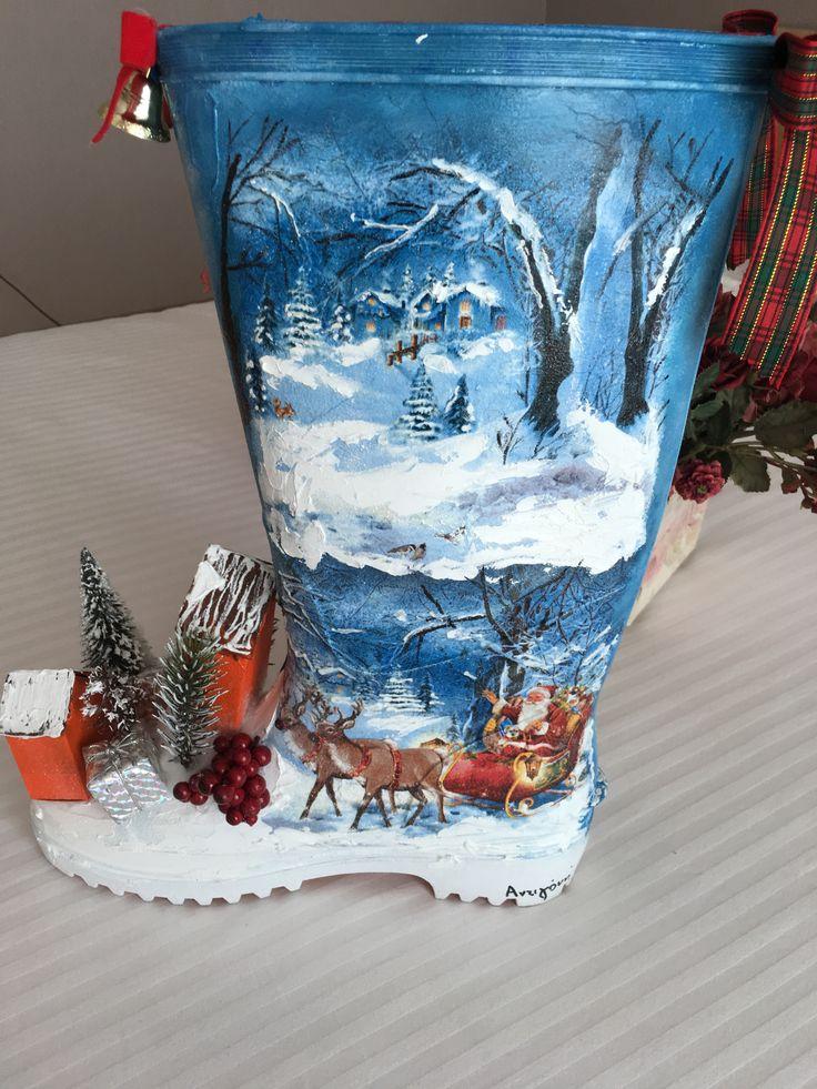 Christmas decoration boot decoupage