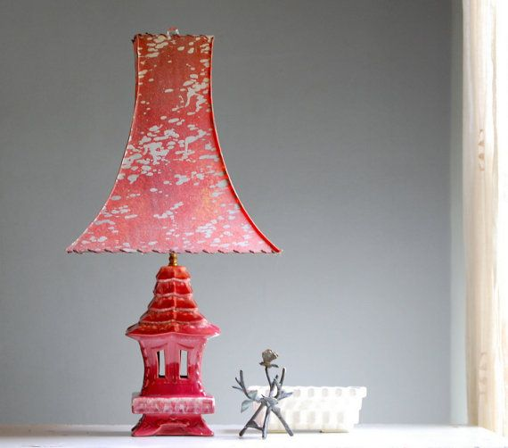 Hollywood regency pagoda lamp oriental lamp with fiberglass shade