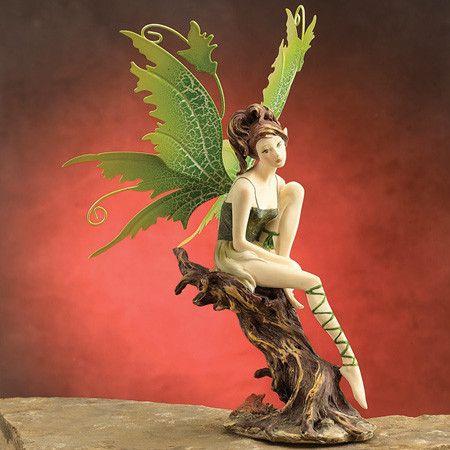 Green Fairy on Tree Figurine – eFairies.com