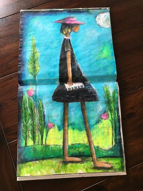 """""""Me, The Moon and Music"""" art journal spread by Sharon Harkness-Dobler"""