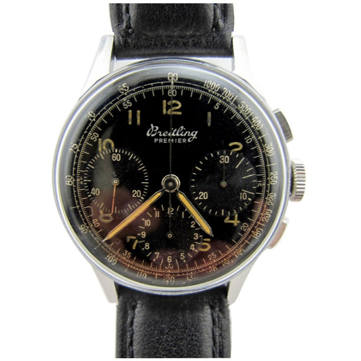 Breitling Steel Premier Chronograph circa 1950's  switzerland  1950s  Breitling SS Premier3 registers manual wind chronograph circa 1950's.36 X 45mm case with large faceted lugs. Black original gloss dial withluminous indexes and luminous hands. 3 registers manual wind Venus calibre 178 movement.  SOLD