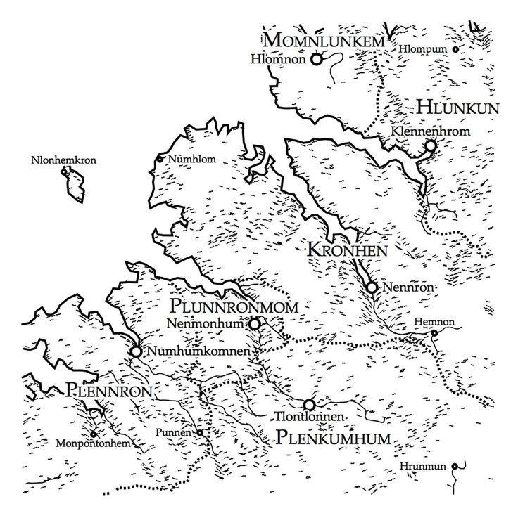 Illustration of a map of fjords made by an automatic map generator