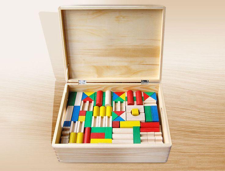 Klocki drewniane kolorowe w skrzyni 180 szt w HappyWoodToys na DaWanda.com