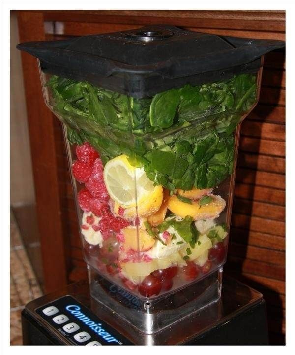 Use in a Smoothie: Spinach, lemon, banana, raspberry, pineapple, and red grapes