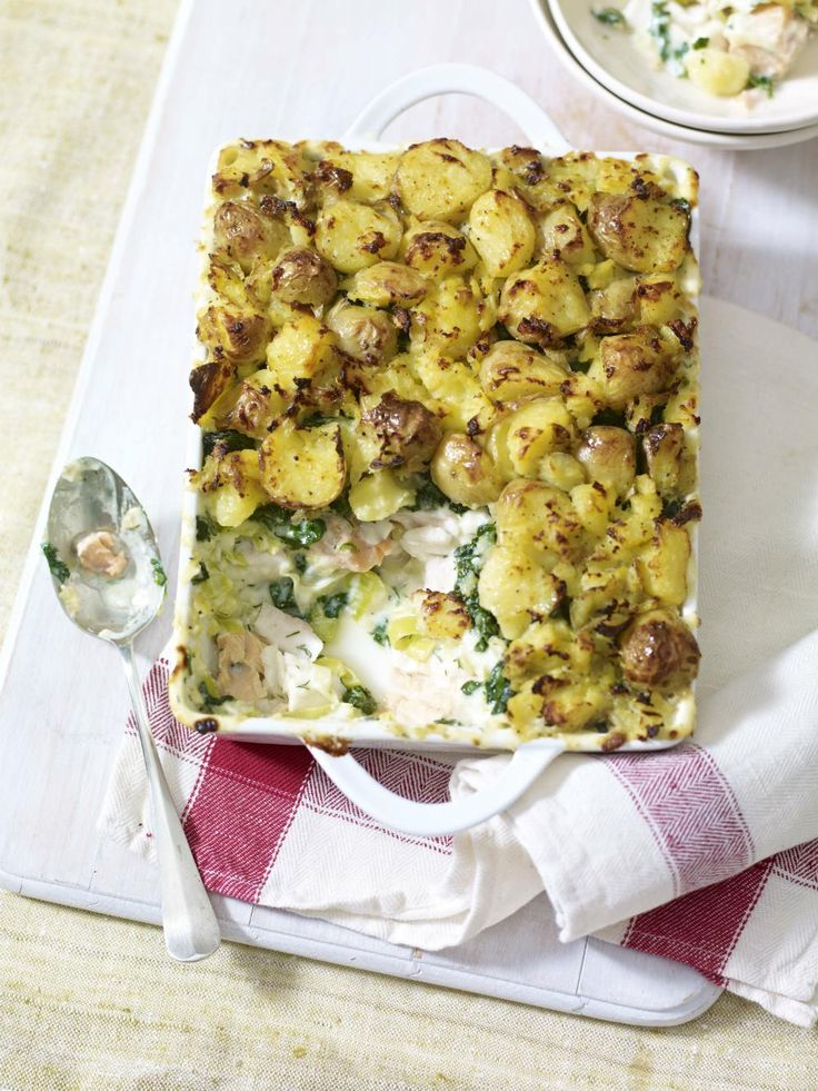 Fish Pie with Crushed Potato Topping from Mary Berry is packed with a creamy filling of leeks, spinach, salmon and hake.