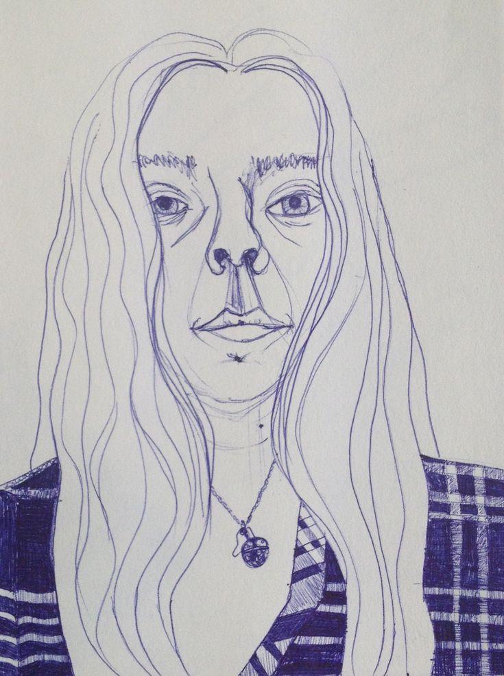 #drawing #dibujo #selfportrait #autorretrato #blue #pen