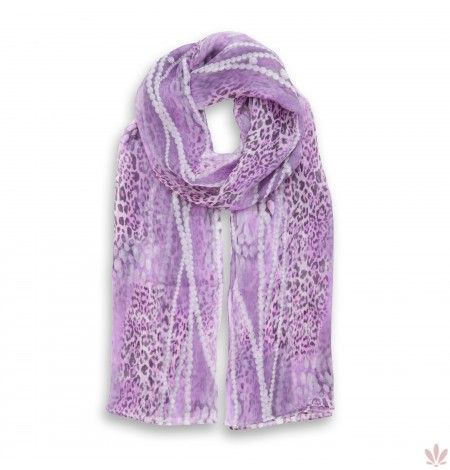 Leopard's Pink Pearls Scarf. Luxury high quality made in Italy by Fulards free shipping.