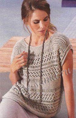 Узорчатый пуловер спицами, фото
