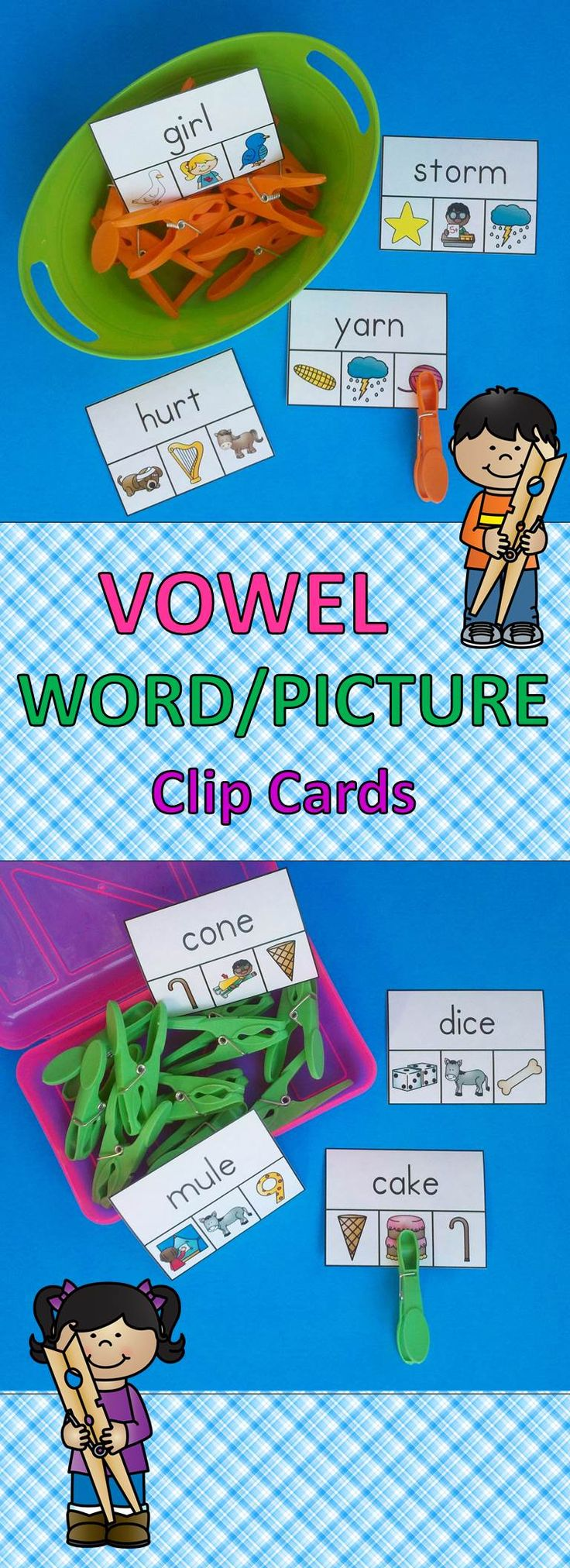 Engaging Phonics Clip Card Activities for your Little Learners!  $   #Vowels #phonics #spellingpatterns #kampkindergarten #clipcards #literacyactivities  https://www.teacherspayteachers.com/Product/Vowel-WordPicture-Clip-Cards-2264473