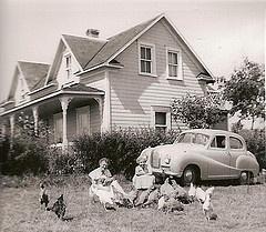 farmhouse and car