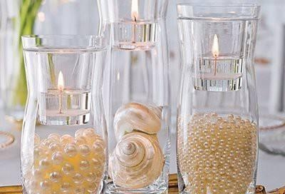 water, pearls and floating candle