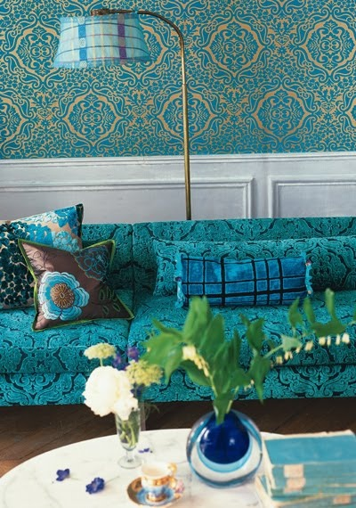 walls- bottom half using the turquoise print with a divider and white on the top (or gray?)