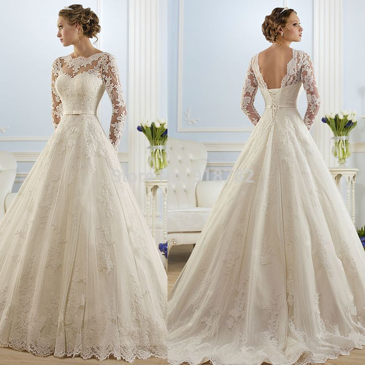 Cheap gown bridesmaid, Buy Quality lace surplice directly from China lace ivory wedding gowns Suppliers: Vestido De Noiva 2015 New Fashionable Elegant High Neckline A Line Long Sleeve Wedding Dress Lace Bridal Gown No