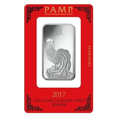 1 oz PAMP Suisse Year of the Rooster Silver Bar (In Assay)