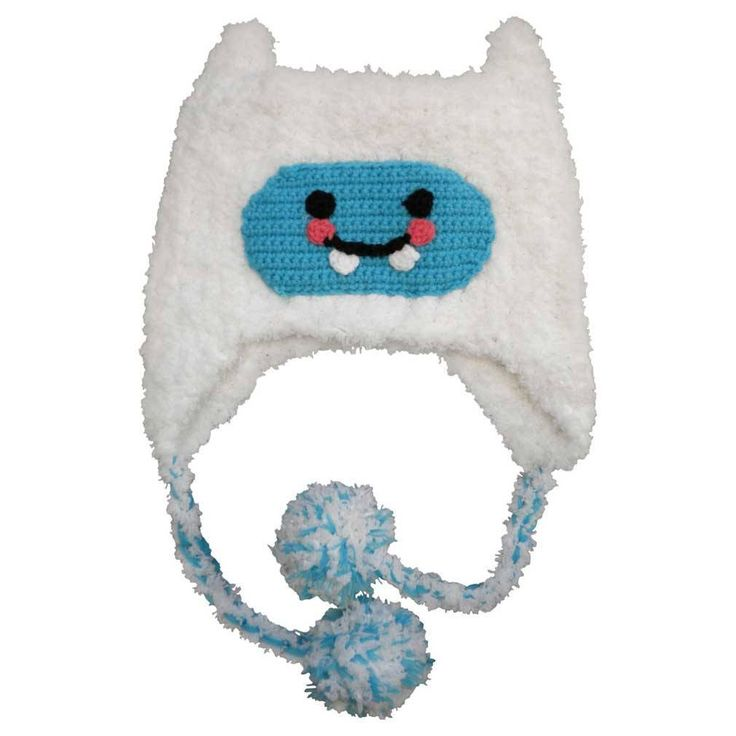 Yeti Beanie Hat - Little abominable snowmen will look so cool in this hat!  Made in white, ultra soft yarn, it has a turquoise face with black and melon accents. This is an earflap style with ties trimmed in pom poms. Super soft and cozy for cooler weather.