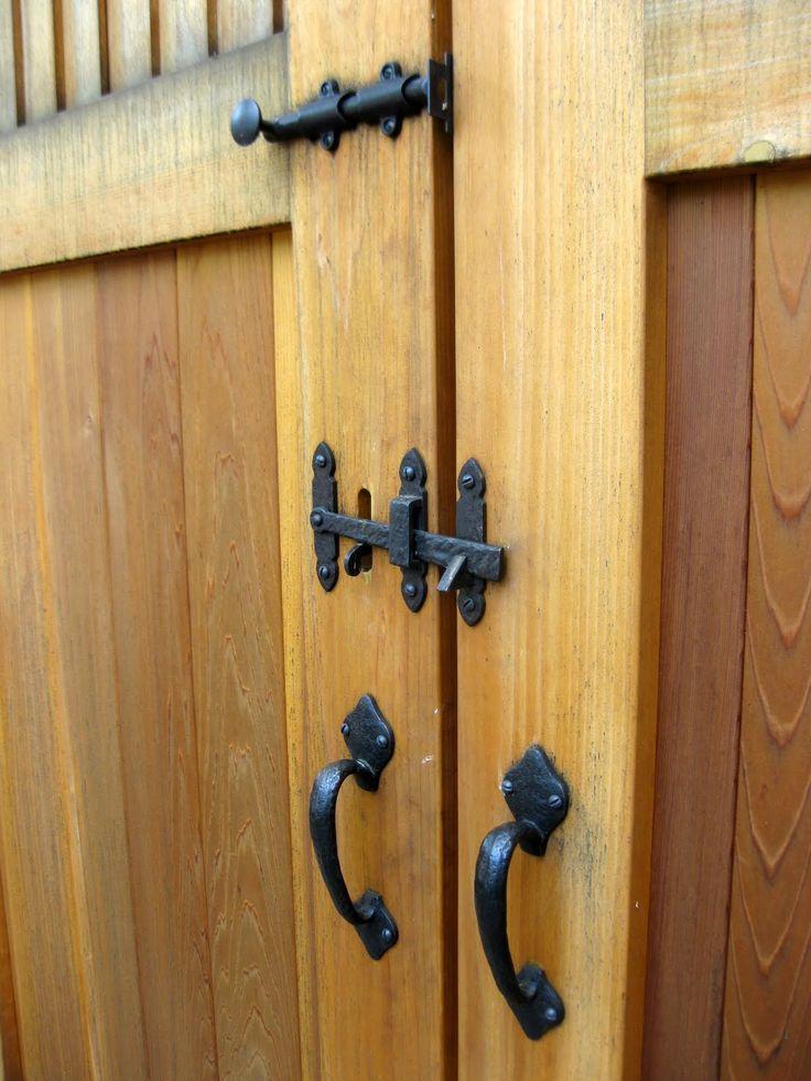 Dark bronze thumb latch 10 with straight drop bar for Driveway gate lock