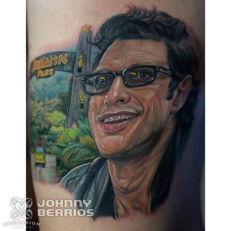 Jurassic park jeff goldblum realistic portrait tattoo by