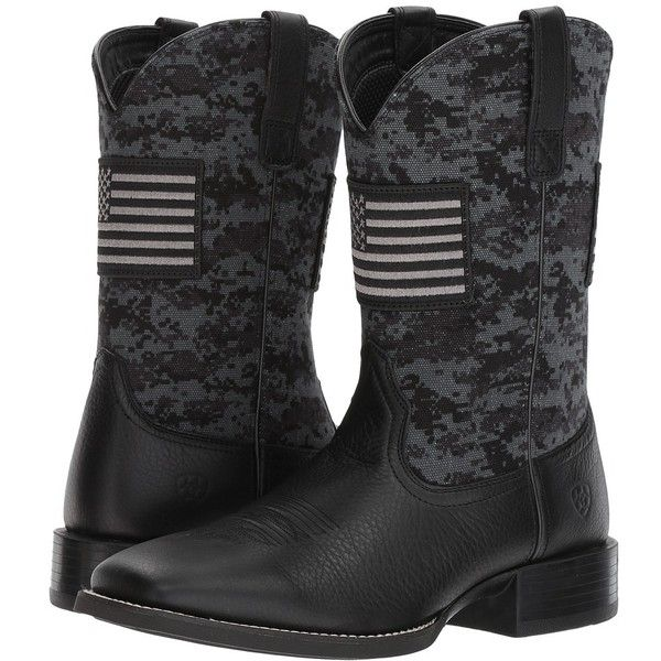 Ariat Sport Patriot (Black Deertan/Black Camo Print) Cowboy Boots ($150) ❤ liked on Polyvore featuring men's fashion, men's shoes, men's boots, mens black cowboy boots, mens slip on boots, mens wide boots, men's pull on boots and mens leather slip on shoes