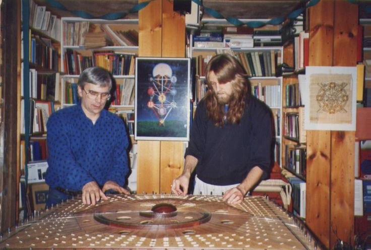 Robin Armstrong and Dale Codling on the Celestial Harp, Casimir St studio