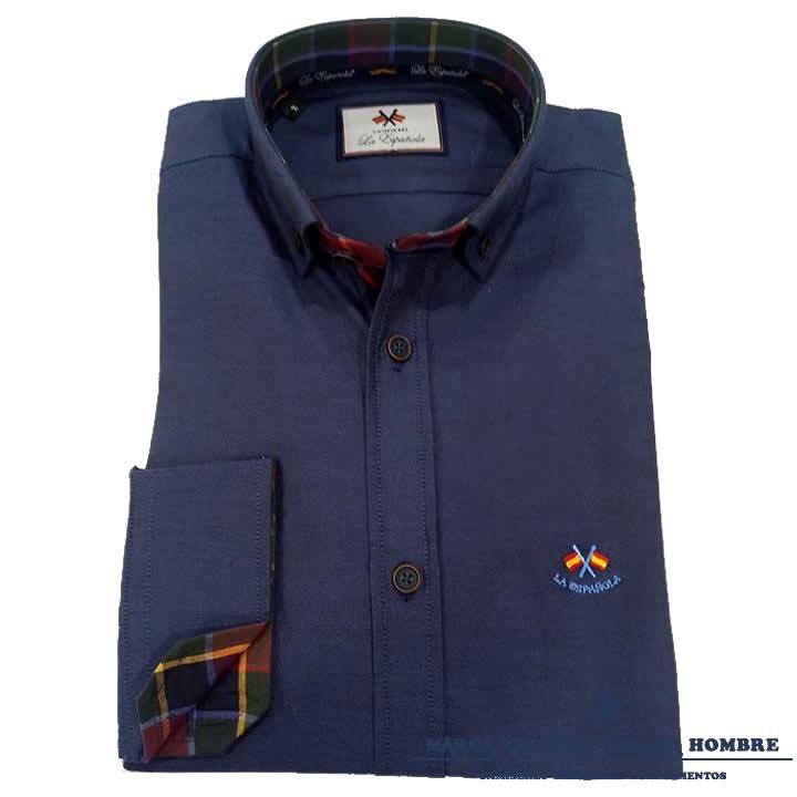 Camisa La Española Lisa Azul Oxford