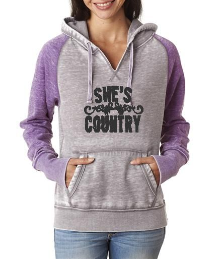 Southern Sisters Designs - She's Country Contrast Hoodie With Black Logo, $38.95 (http://www.southernsistersdesigns.com/shes-country-contrast-hoodie-with-black-logo/)
