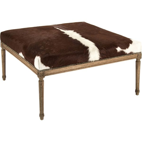 Daxton Rustic Lodge Spotted Cowhide Oak Ottoman ($2,339) ❤ liked on Polyvore featuring home, furniture, ottomans, oak footstool, oak furniture, oakwood furniture, cowhide furniture and cowhide leather furniture