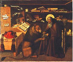 Even though he is the patron saint of librarians, St. Jerome could use some help organizing his bookshelves.