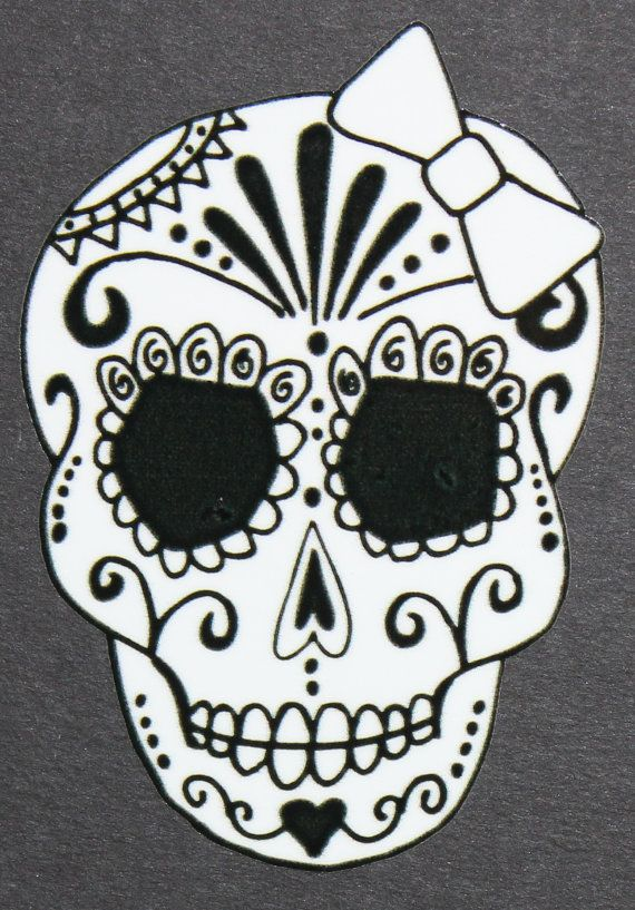 Day of the dead art girl sugar skull car sticker by calacajoy